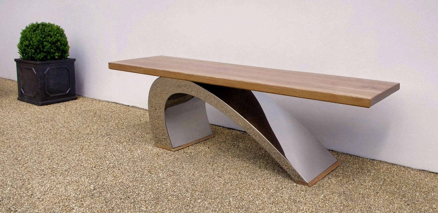 modern outdoor benches contemporary images  pixelmaricom - perfect sturdy elegance makes the metropolitan bench a backyard favoritemade from brushed aluminum and a sturdy polyurethane simulated wood top maywell