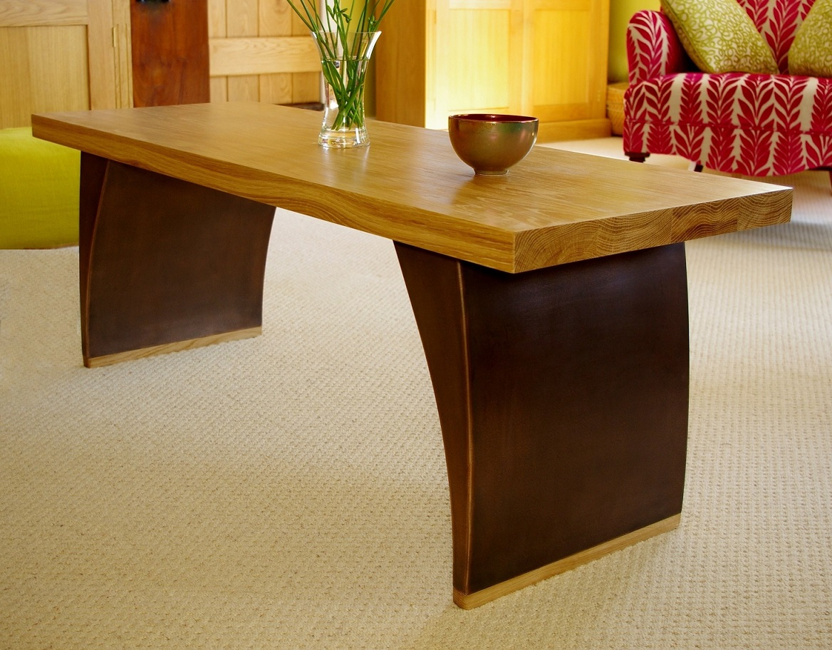Wood Coffee Table Bronze Finish Amp Solid Oak Top Chris Bose