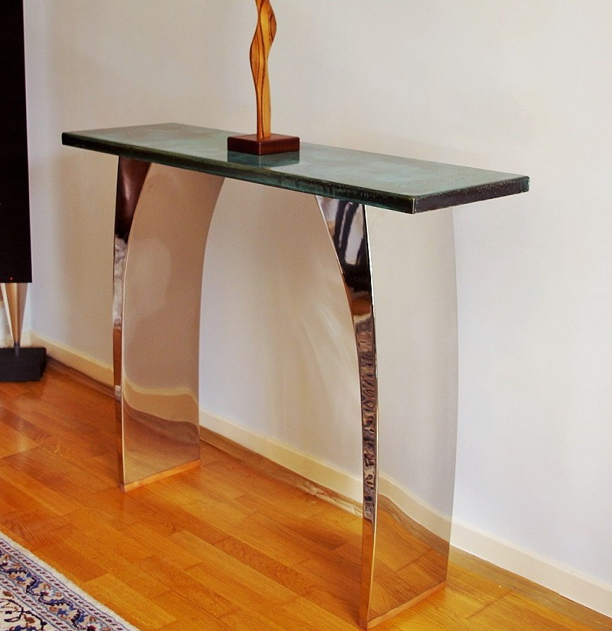 Modern console tables with beautiful metal finishes chris bose