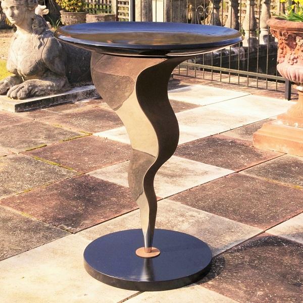 Metal garden bird bath Genie sculpture