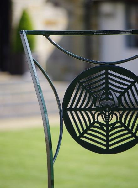 Metal garden furniture chair detail